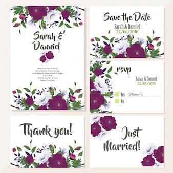 紫色の花とかわいい結婚式のカード