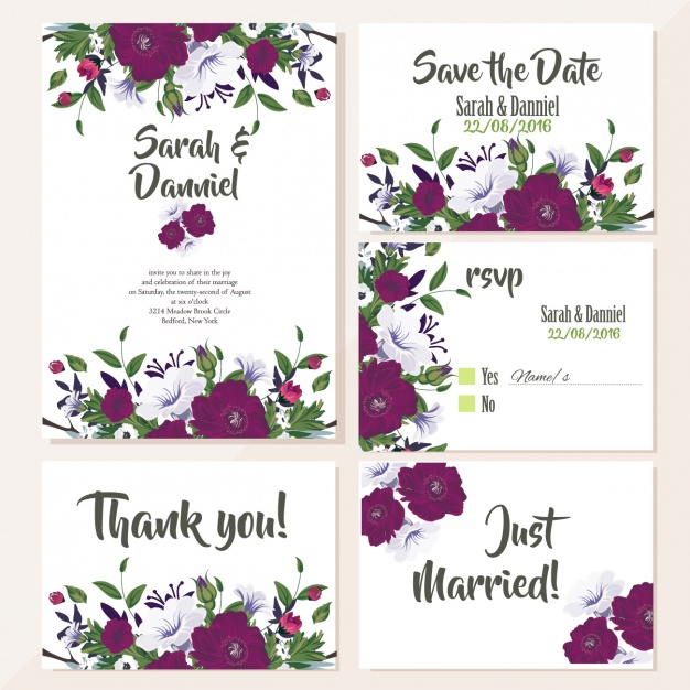 Cute wedding cards with violet flowers