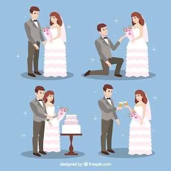 Cute wedding couple in different postures