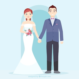 Cute wedding couple in love