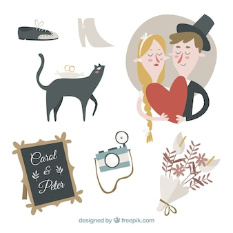 Cute wedding elements collection