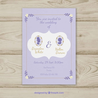 Cute wedding iinvitation with silhouettes