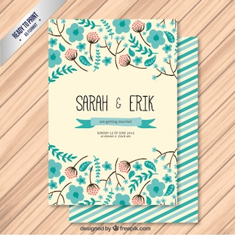 Cute wedding invitation in floral style