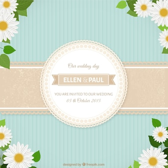 Cute wedding invitation with daisies