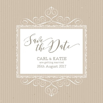 Cute wedding invitation with elegant ornaments