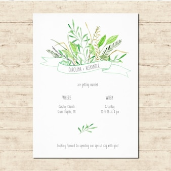 Cute wedding invitation with floral elements
