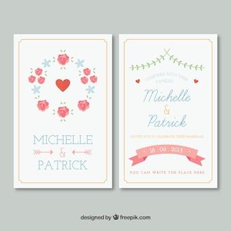 Cute wedding invitation with flowers