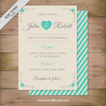 Cute wedding invitation with turquoise stripes