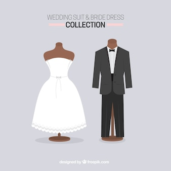 Cute wedding suit and bride dress