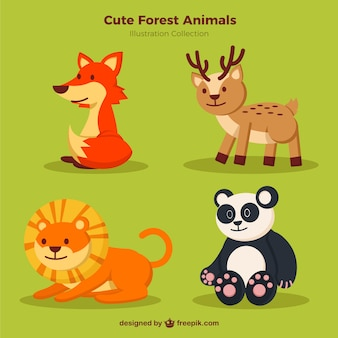 Cute wild animals pack
