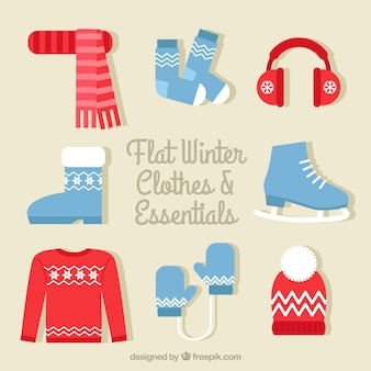 Cute winter outfit  set in flat design