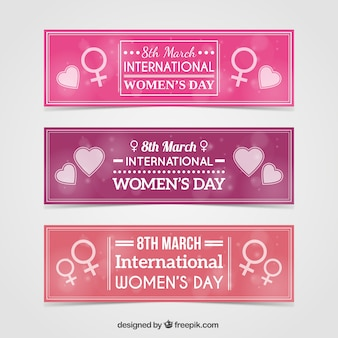 Cute woman day banners pack