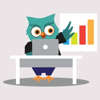 Cute Worker of Owl Cartoon Character