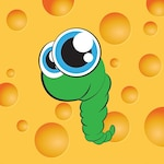Cute worm on yellow background