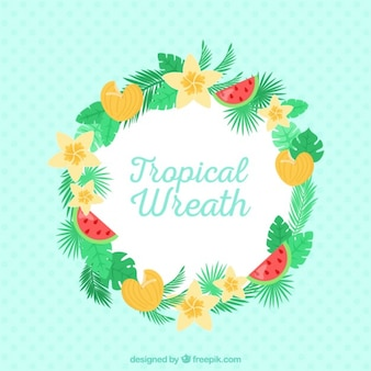 Cute wreath with tropical flowers and fruits
