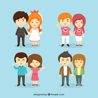 Cute young couples illustration
