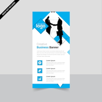 Cyan Color Roll Up Banner Template