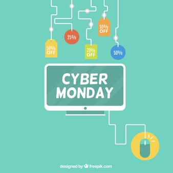 Cyber monday background with computer and different discount labels