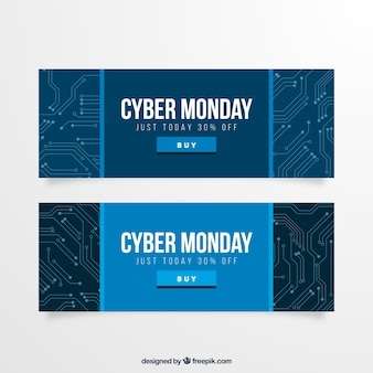 Cyber monday banners of circuit