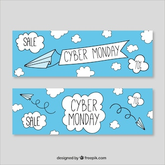 Cyber monday banners of hand drawn clouds