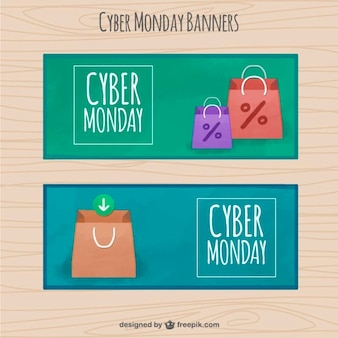 Cyber monday banners with bags