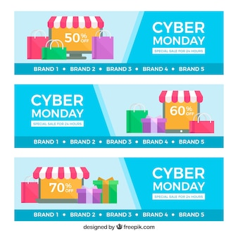 Cyber monday banners with store