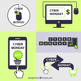 cyber monday elements set in flat design