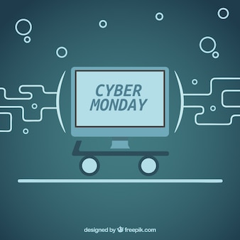 Cyber monday monochromatic background with a computer