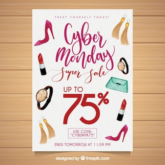 Cyber monday poster with watercolor elements