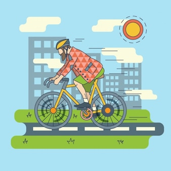 Cycling in the city flat illustration