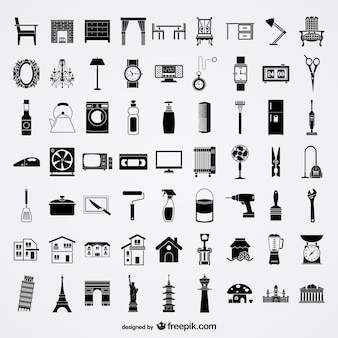 Daily life and monuments black icon set