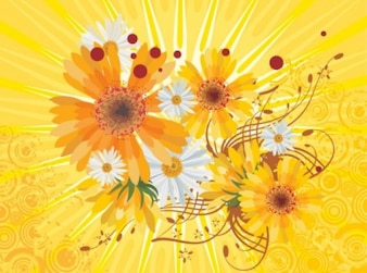 Daisies bouquet on bright yellow background
