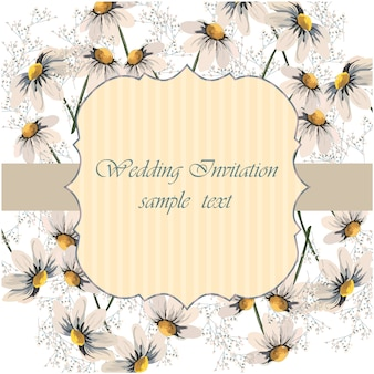 Daisy frame wedding invitation