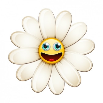 Daisy with Happy Face Illustration