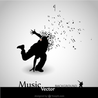 Dancer silhouette shouting music notes