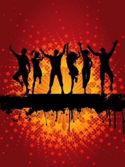 Dancing People Silhouette Background