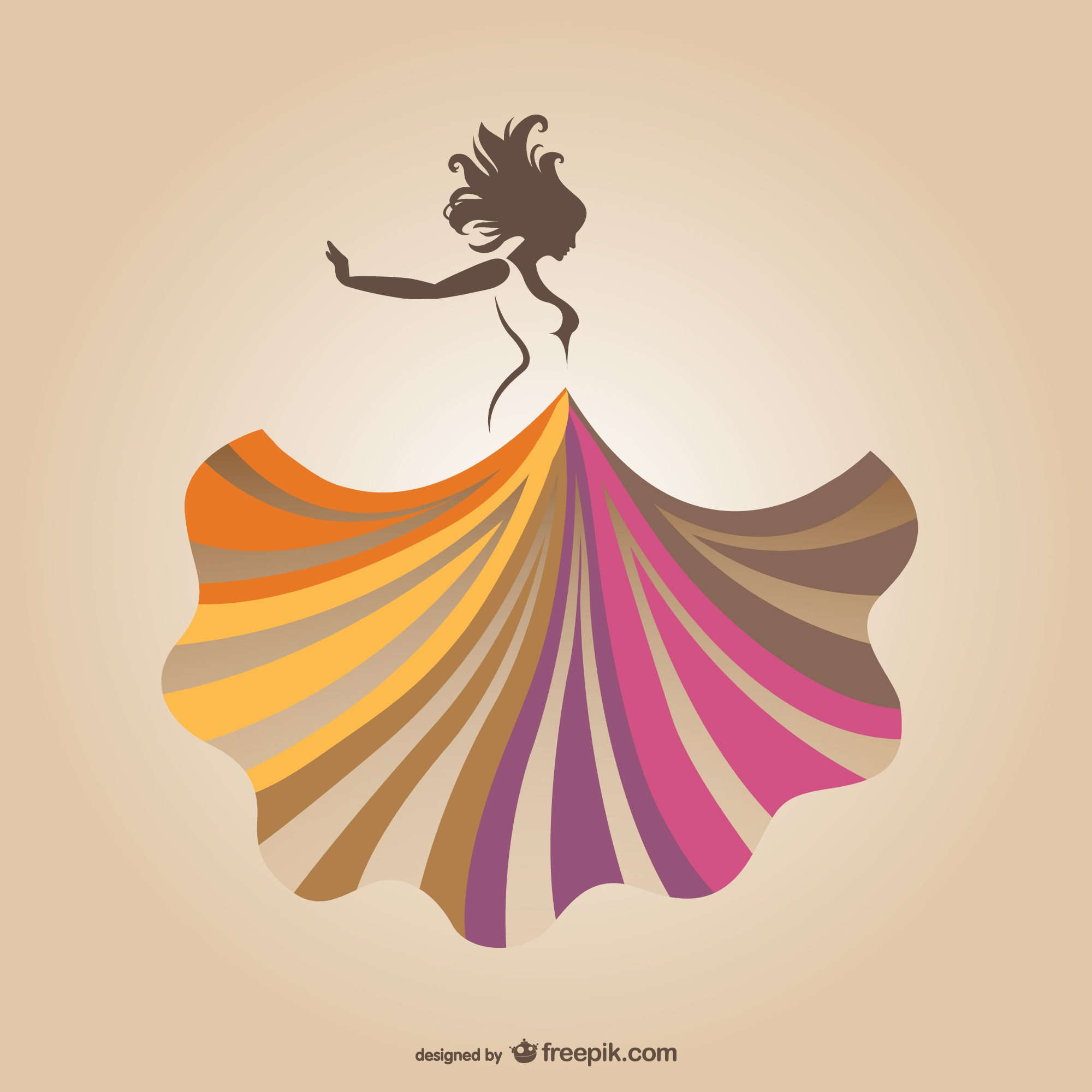Dancing woman with colorful skirt