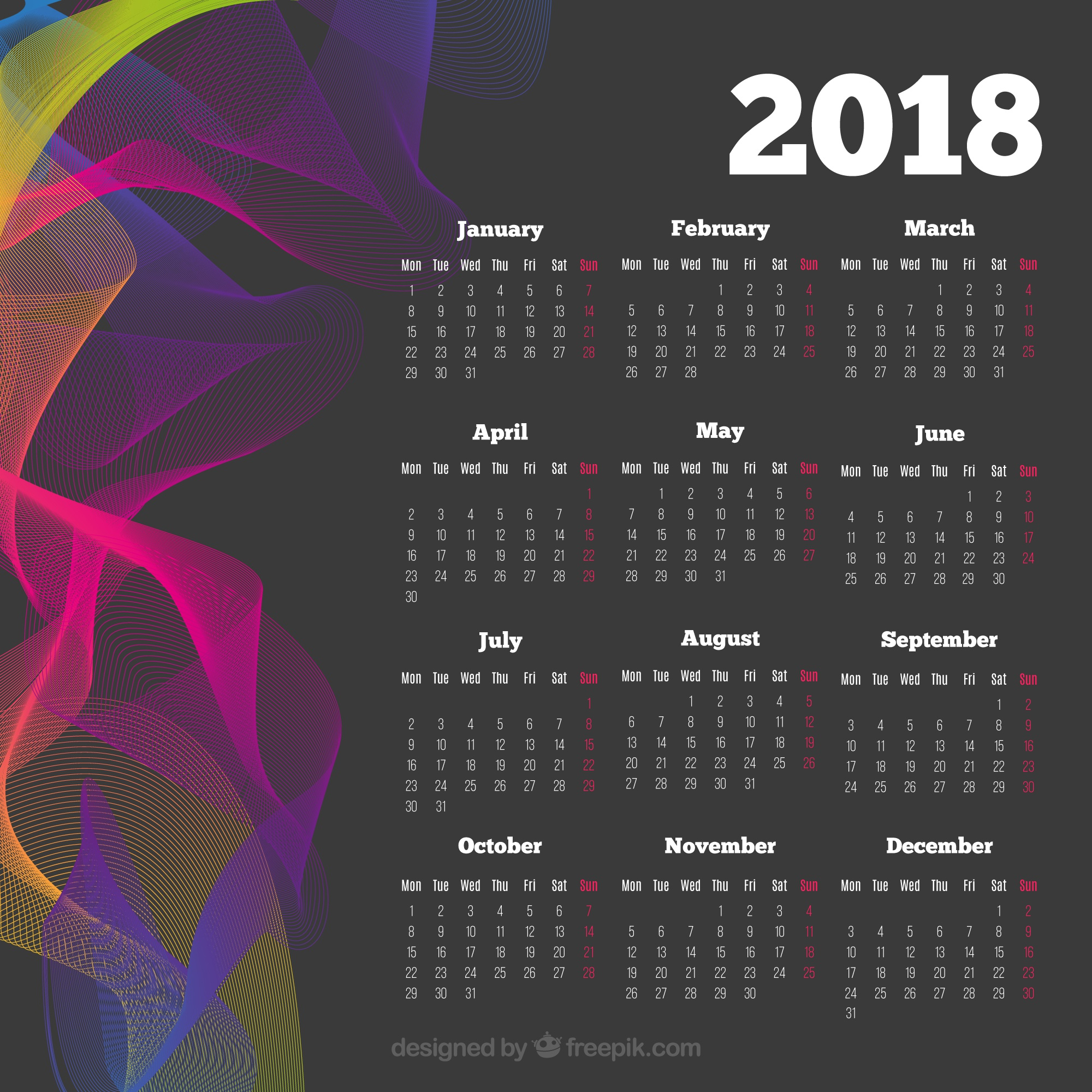 Dark 2018 calendar with colored wavy forms