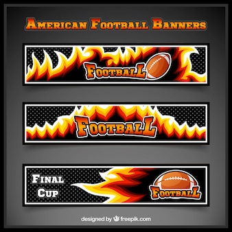 Dark american football banners with flames