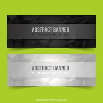 Dark and silver abstract banners
