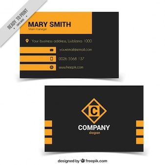 Dark and yellow business card