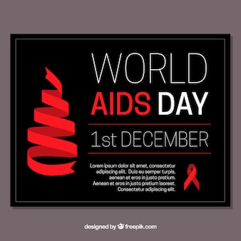 Dark background for world aids day with red ribbon