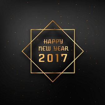 Dark background of happy new year 2017 with golden frame