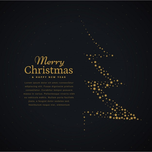 Dark background with a golden christmas tree