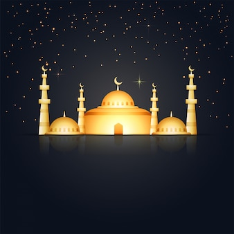 Dark background with golden mosque
