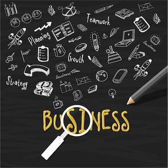 Dark background with hand-drawn business elements
