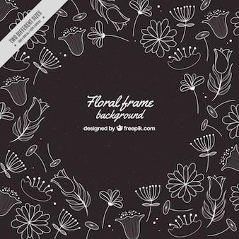 Dark background with hand drawn flowers