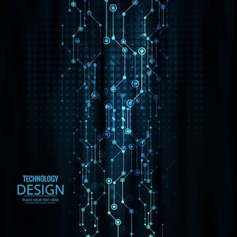 Dark background with technological design