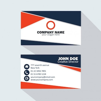 Dark blue and red business card