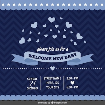 Dark blue baby shower invitation